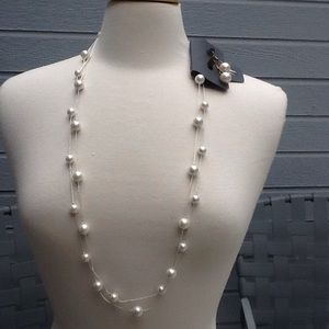 LONG DOUBLE STRAND PEARLS AND EARRINGS